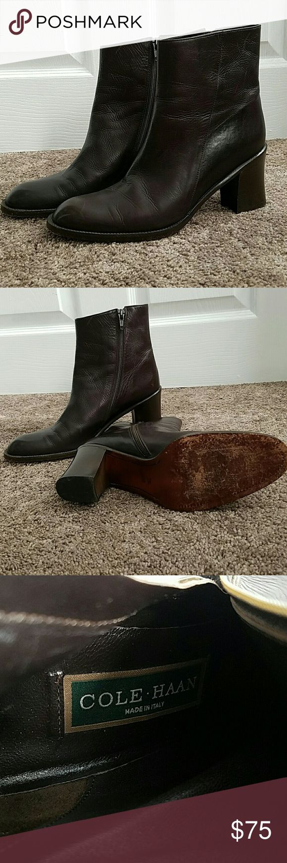 """COLE HAAN Ankle Boots MADE IN ITALY These gorgeous ankle boots by Coke Haan are made in Italy and come in 7 1/2 AA. They are in EUC with minor wear to the soles. The heels measure 2 3/4"""" Cole Haan Shoes Ankle Boots & Booties"""