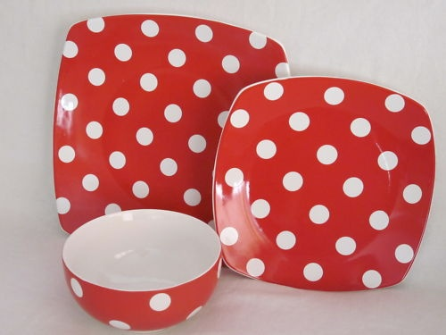 Style Happy Red White Polka Dots Salad Plates Set 4