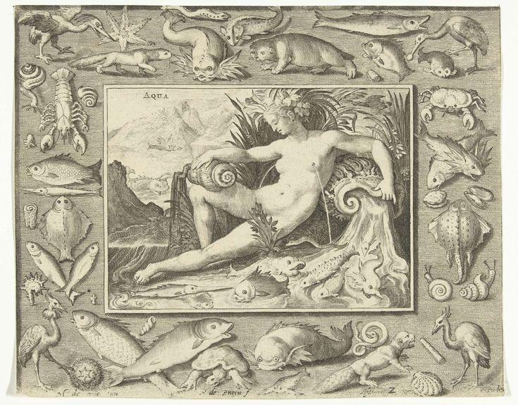 Nicolaes de Bruyn | Element water als vrouw bij bron met vissen, Nicolaes de Bruyn, 1581 - 1656 | Element water als naakte vrouw zittend bij bron met vissen, uit haar borsten stroomt water. In omlijsting met vissen en andere dieren die in of bij het water leven zoals een otter, zeehond, lepelaar, schildpad en schaaldieren.