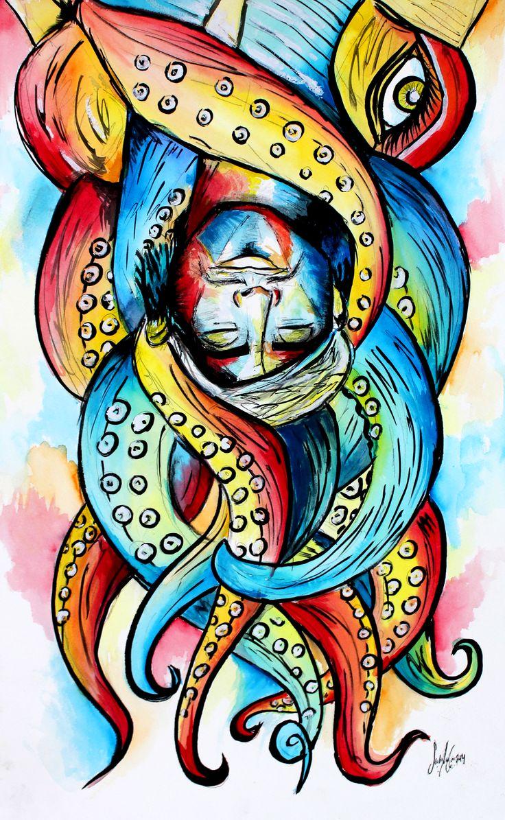 El Sueño de Sinbad by Sofia Castellanos ©  #art #artist #illustration #finearts #watercolours #magic #fantasy #story #surrealism #sinbad #octopus #monster #dream