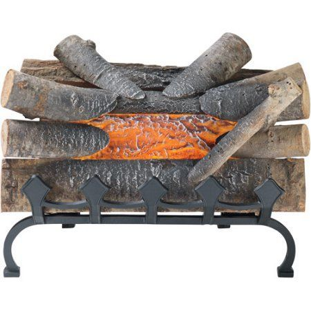 Pleasant Hearth 20 inch Natural Wood Electric Crackle Log with Grate, L-20WG, Brown