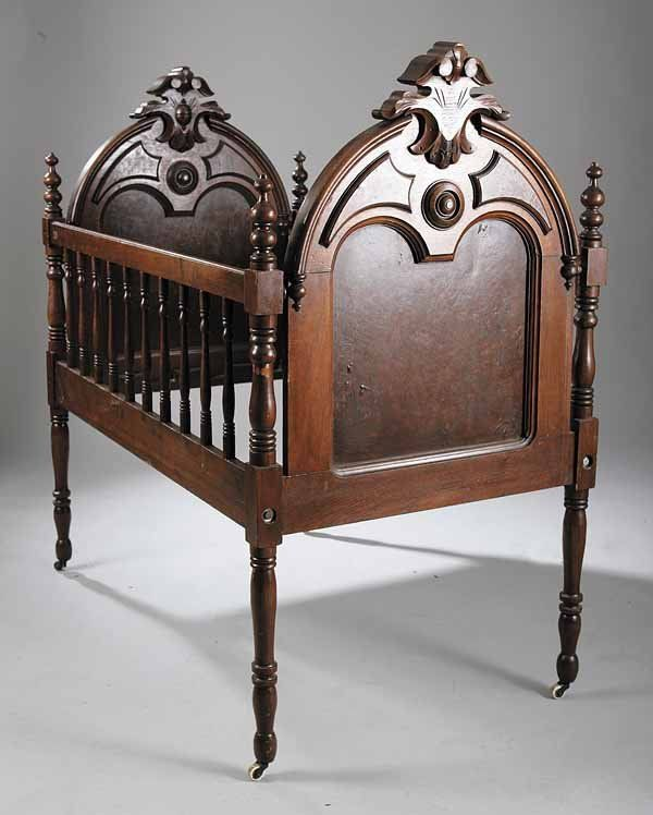 861: American Renaissance Walnut and Burled Baby Crib : Lot 861