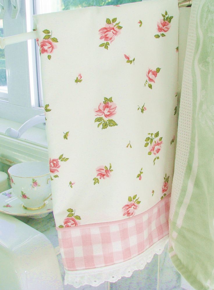NEW favorite love vintage roses kitsch kitchen tea TOWEL shabby pink cottage chic