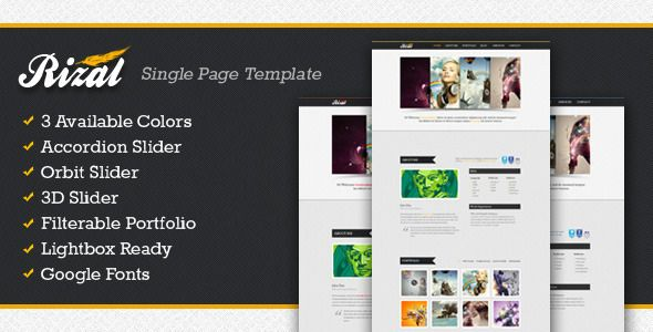 Rizal - Single Page Template - ThemeForest Item for Sale