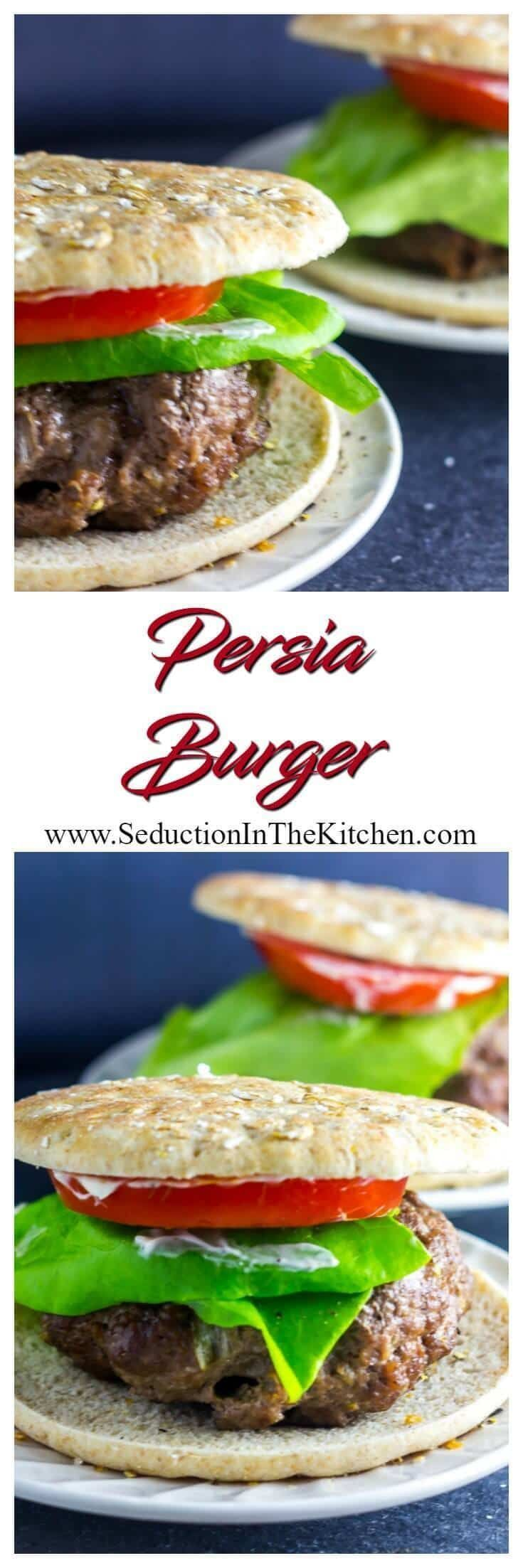 The #Persia #Burger inspired by Persian meat #kebabs. Onion and meat along with spices grilled together then topped off with a #roastedgarlic #lemon aioli. @CertAngusBeef #Burgermonth2017 via @SeductionRecipe