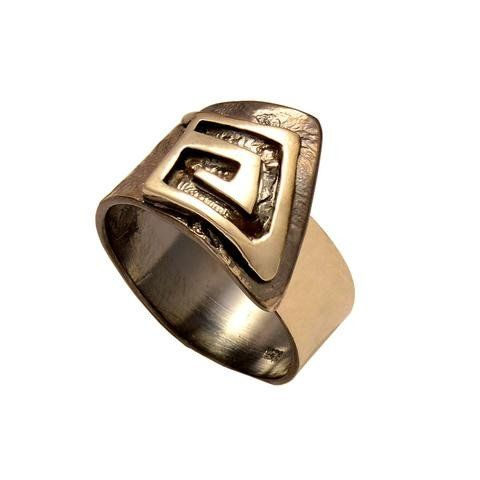 Contemporary ring with greek key design fashion jewelry ring (Oxidation)