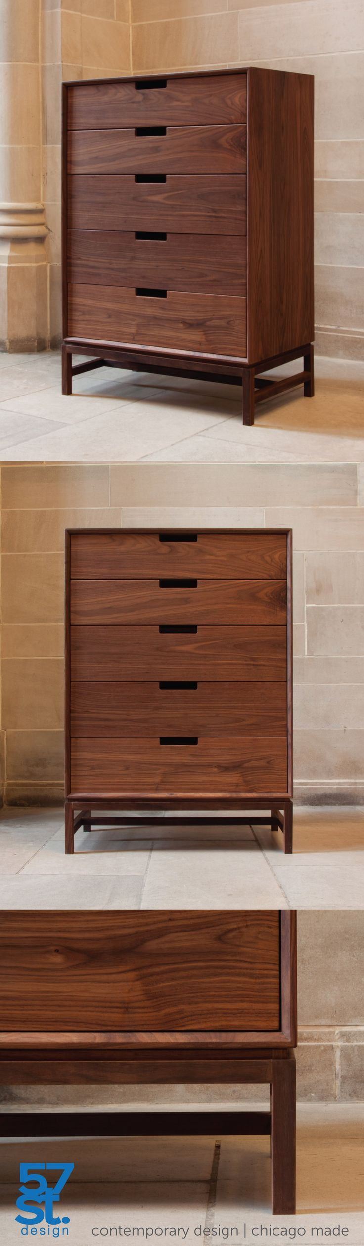 A contemporary dresser with mid-century modern influences, made from solid, American walnut with a hand-rubbed, natural oil + wax finish. The Forde Tallboy Dresser by 57st. design. Designed and proudly crafted in Chicago. Available in a variety of wood types and finishes; also available in custom dimensions.