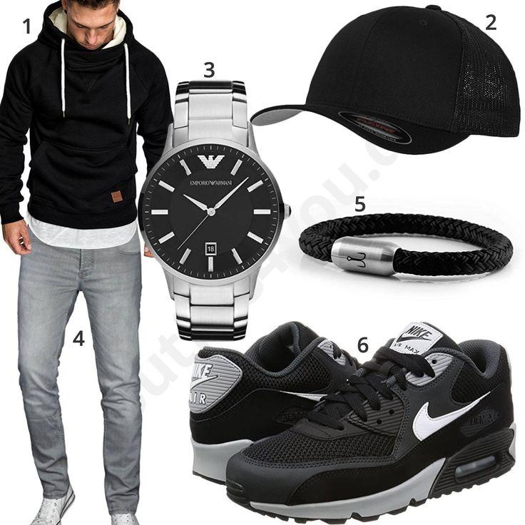 Schwarzes Herrenoutfit mit Hoodie, Cap und Jeans – Luca Nunez