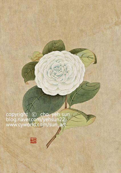 카멜리아[camellia] (동백나무)의 세가지 민화 작업중 제가 가장 만족스럽웠던 칼라의 작품입니다. 화려함...