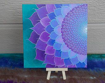 Mandala de flores silvestres pintura, geometría sagrada, Mandala, tablero de lona de 8 x 8, punto arte por Kaila lanza, Lotus Mandala de punto con soporte de Metal