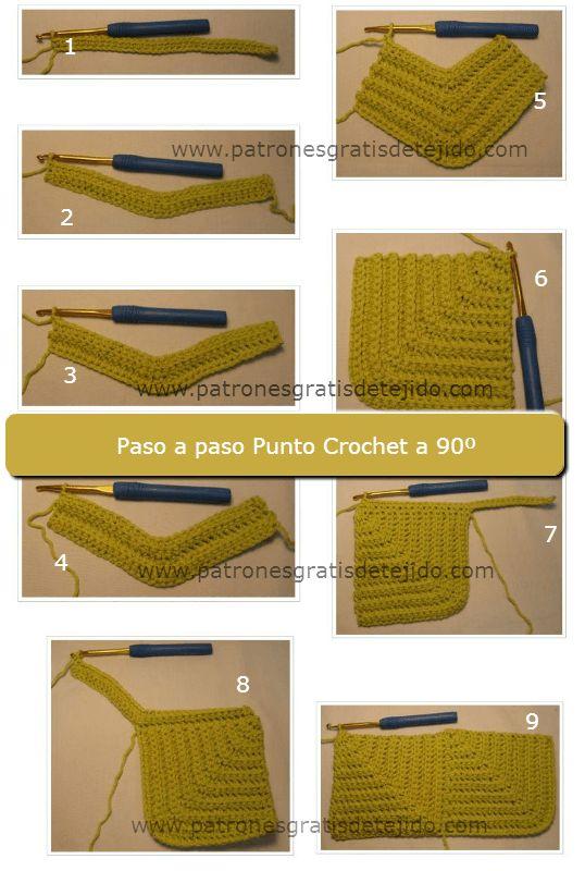 Como tejer cuadro con diseño en escuadra crochet paso a paso