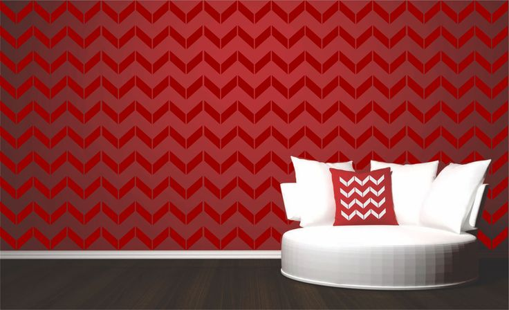 Create a modern wallpaper- like feature wall with Stencils for Walls' Chevron Wall Stencil. Stencilling is an effective and versatile way to customize any flat surfaces you may have. Our stencils are cheap and easy to use and also offer impeccable quality.