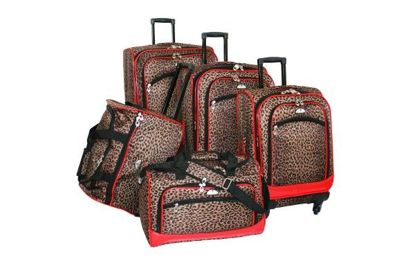American Flyer Animal Print 5 Piece Expandable Spinner Luggage Set 85300-5 LRED | Luggage Pros