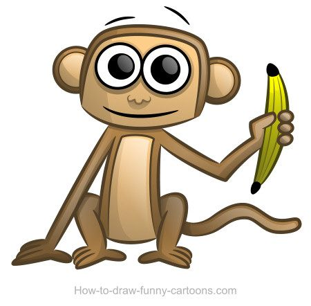 Today's drawing lesson is featuring a cute monkey with large pupils, a smile and a banana! :)