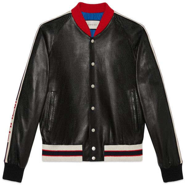 Gucci Leather Bomber Jacket With Appliqué (€2.330) ❤ liked on Polyvore featuring men's fashion, men's clothing, men's outerwear, men's jackets, black, men, outerwear & leather jackets, ready-to-wear, mens leather bomber jacket and mens short sleeve jacket