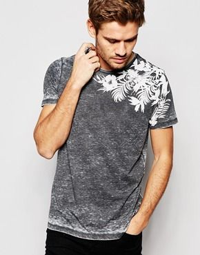 ASOS T-Shirt With Burn Out Wash And Leaf Floral Print