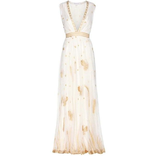 Diane von Furstenberg Vivianette Embroidered Tulle Gown (€1.085) ❤ liked on Polyvore featuring dresses, gowns, gown, cocktail/gowns, white, evening gowns, white dress, tulle evening dress, white embroidered dress and white cocktail dresses