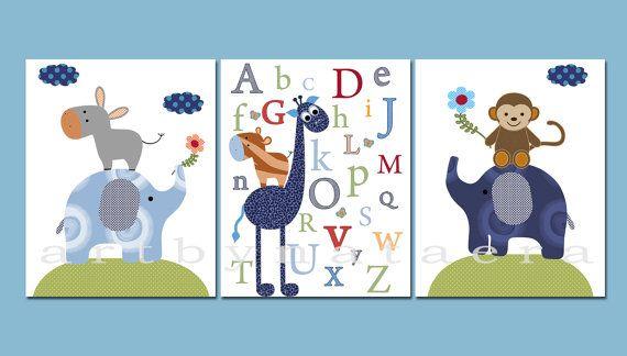 Art for Children Baby Boy Nursery Baby Boy Room by artbynataera, $42.00 critter ideas