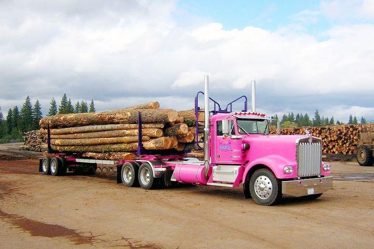 Pink Kenworth logging truck.