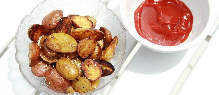 Grilled Sesame Garlic Potatoes with Sriracha Ketchup Recipe