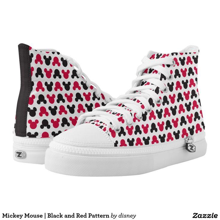 Mickey Mouse | Black and Red Pattern. Producto disponible en tienda Zazzle. Calzado, moda. Product available in Zazzle store. Footwear, fashion. Regalos, Gifts. #zapatillas #shoes
