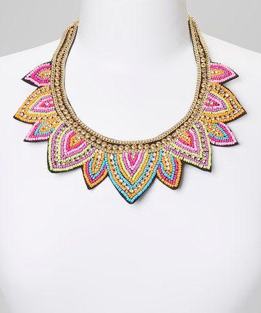 Amazing statement pink & gold triangle bib necklace #zulilyfinds