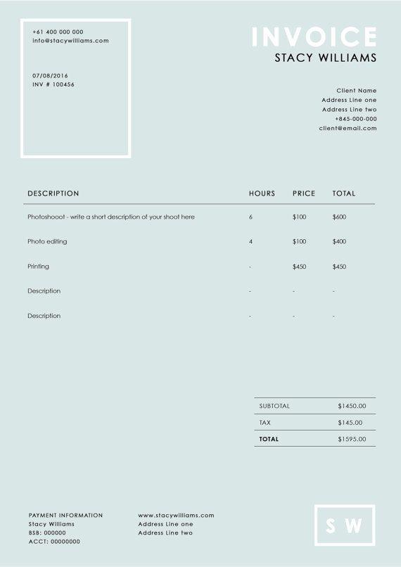 Plantilla de factura de fotografía  Recibo de por EmandCoDesign