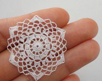 Miniature crochet round doily in white 1.5 inches 1:12 by MiniGio