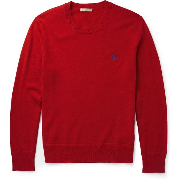 Burberry Brit Crew Neck Cashmere Sweater (1.385 BRL) ❤ liked on Polyvore featuring men's fashion, men's clothing, men's sweaters, zzz winter storage, red, mens crew neck sweaters, mens crewneck sweaters, mens cashmere sweaters, mens red sweater and burberry mens sweater