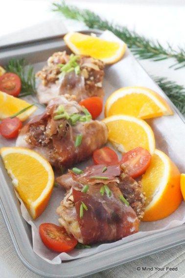 Kipfilet in parmaham met dadels en noten