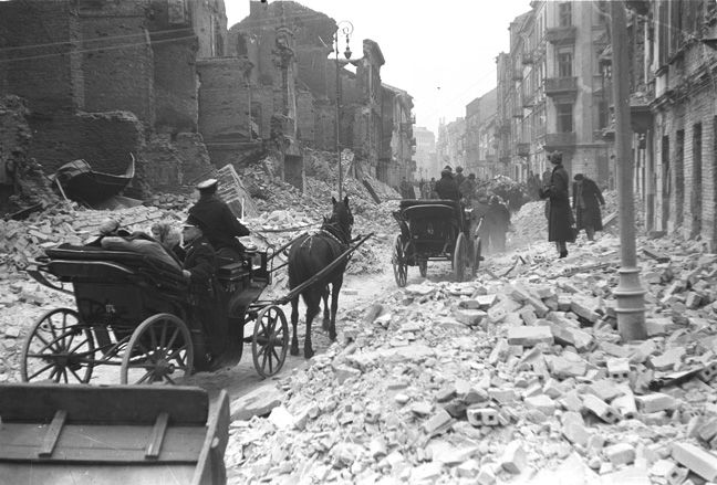 Warsaw, Poland, 1939, street ruins