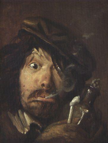 """Adriaen Brouwer (Flemish, 1605 – 1638) """"Fumatore"""" (The Smoker)"""