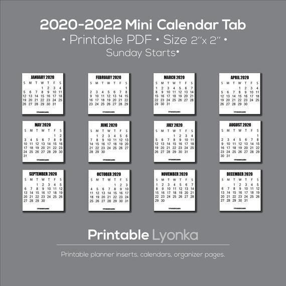 2020 2021 2022 Mini Calendar Tab Printable Pdf Size 2 X 2 Inch Printable Calendar2020 Cal Planner Inserts Printable Mini Calendars Printable Calendar Pdf