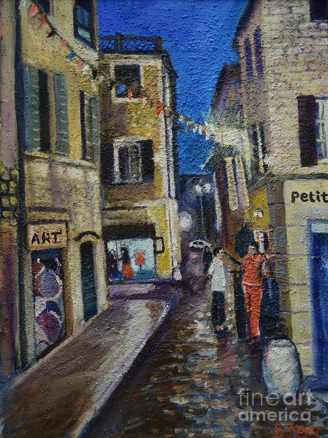 Oil Painting On Canvas Painting - Street View Provence 2 by Raija Merila