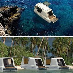 The Caravan Houseboat -- still in the concept/design stage. Can go from camper trailer to house boat in the press of a few buttons. Feels very James Bond circa 1970!
