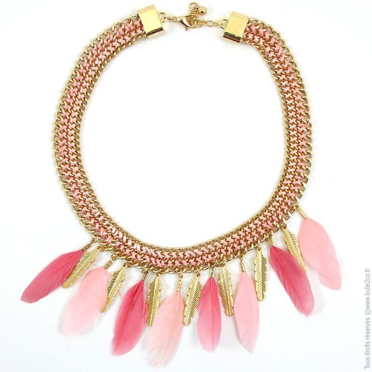 Collier plastron à plumes. Rose et Corail - Bijoux Fantaisie/Colliers courts - Bulle2co