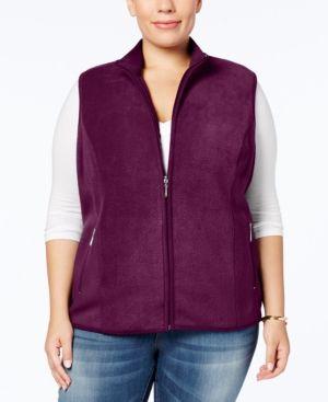 Karen Scott Plus Size Zeroproof Fleece Vest - Purple 3X