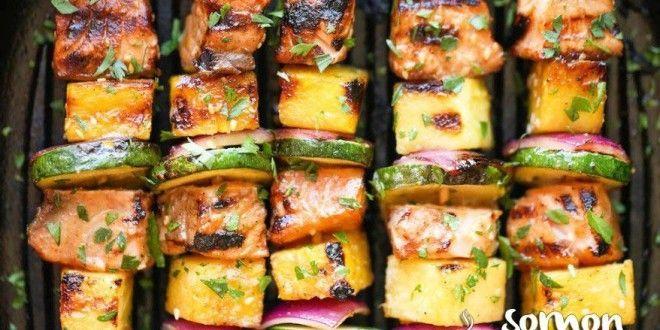 Izgarada+Ananaslı+Somon+Şiş+Kebap+Tarifi