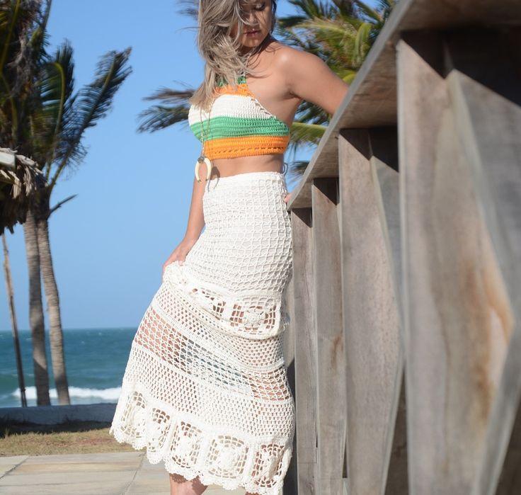 Saia de crochê: 30 modelos lindos e como fazer a sua (VÍDEOS) | Crochet skirts, Crochet clothes, Fashion