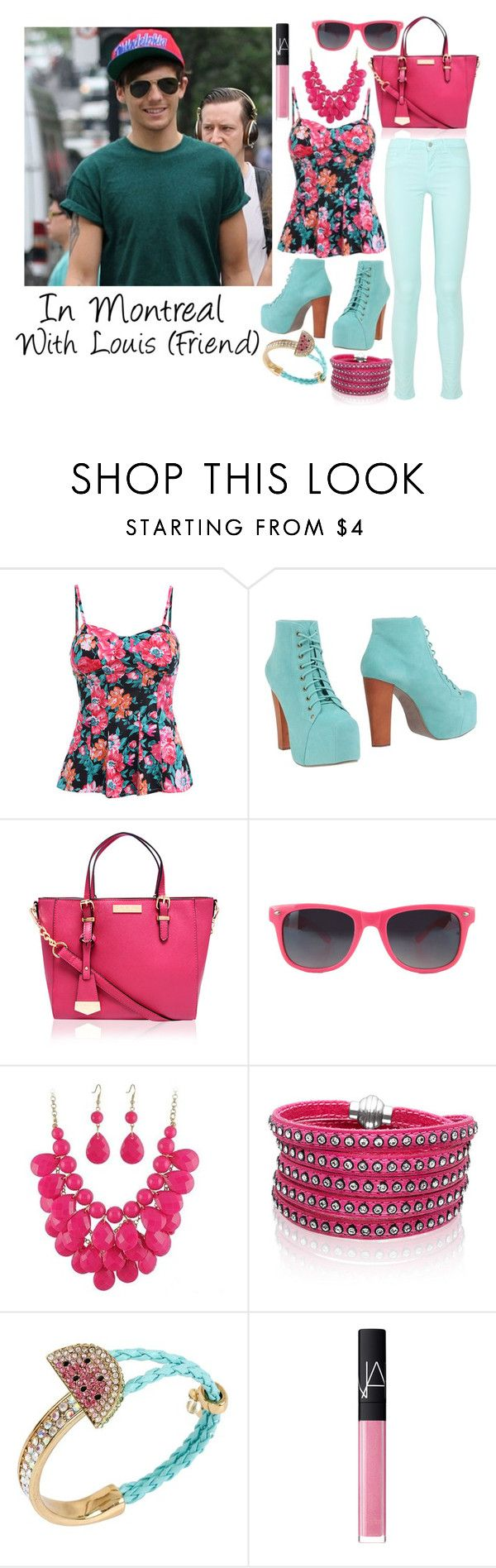 """In Montreal with Louis"" by gingy333 ❤ liked on Polyvore featuring Calder, Jeffrey Campbell, Carvela Kurt Geiger, Sif Jakobs Jewellery, Betsey Johnson and NARS Cosmetics"