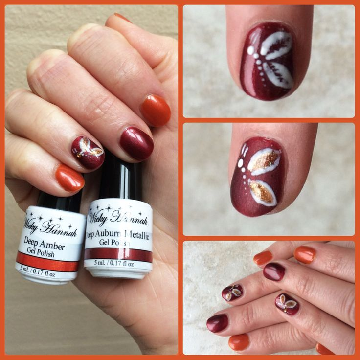 Burnt red and orange tones #gelpolish #wickyhannah #shellac #gellak #nailart #nails #burntorange #naildesign