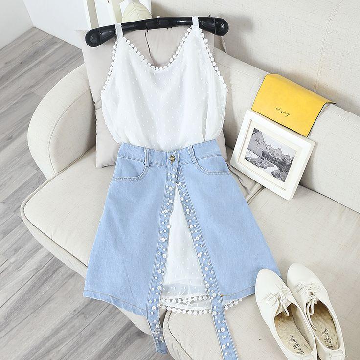 Lato Kobiet Szelki Sukienka + Zestawy Spódnice Szyfonowe Sukienki Ramiączka i Denim Jeans Perły Podzielonego Spódnica Garnitury dla Kobiet(China (Mainland))
