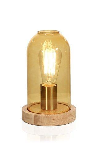 Newton bordlampe champagnefarget glass