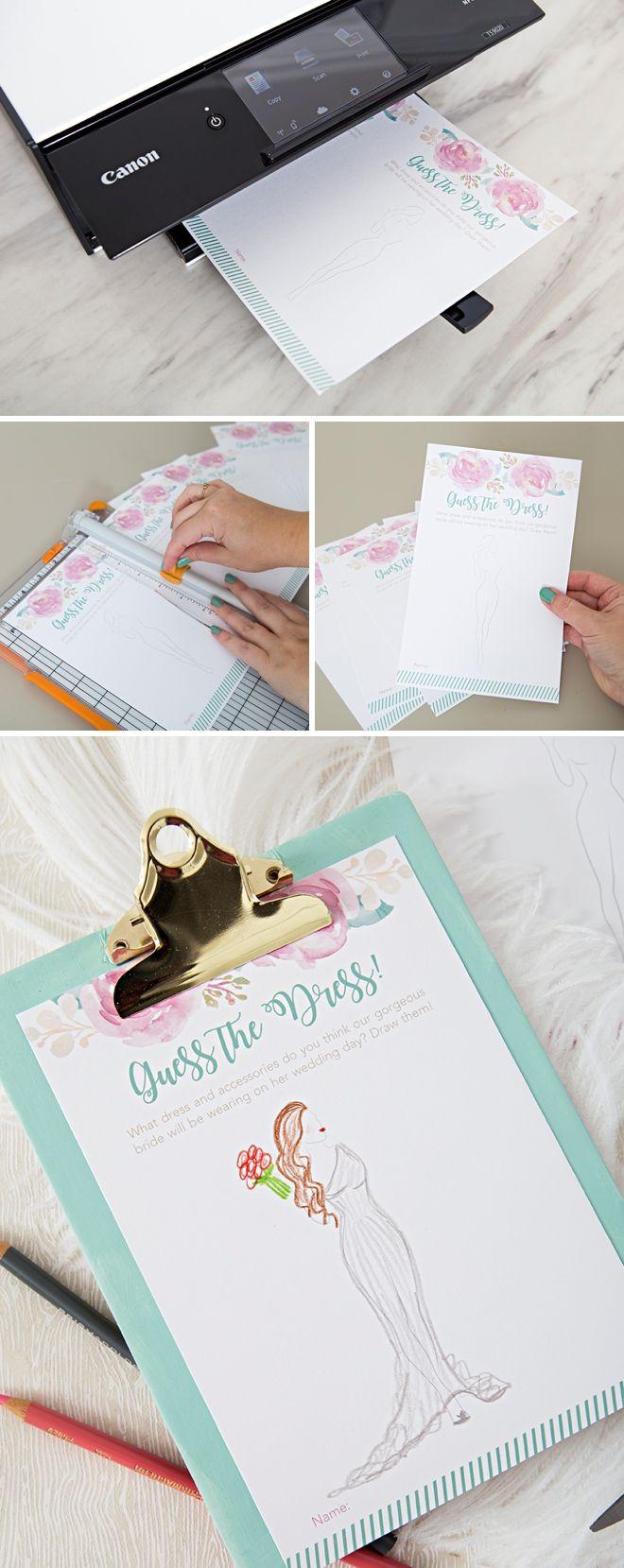 This FREE Printable Guess The Dress Bridal