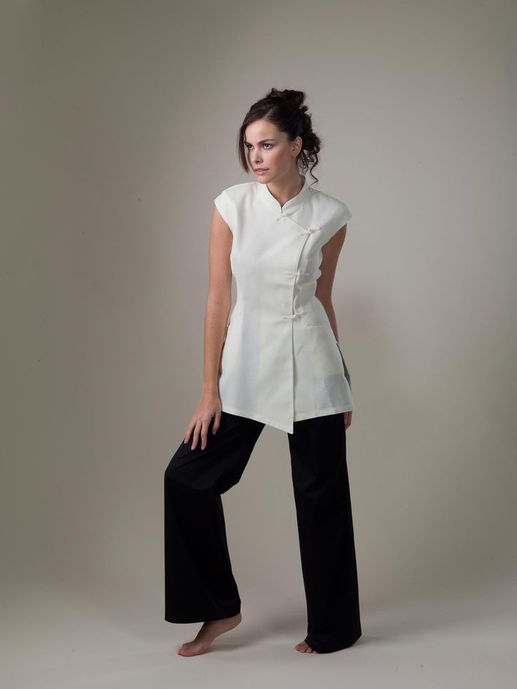 Yin white spa uniform top work attire pinterest spa for Uniform for spa staff