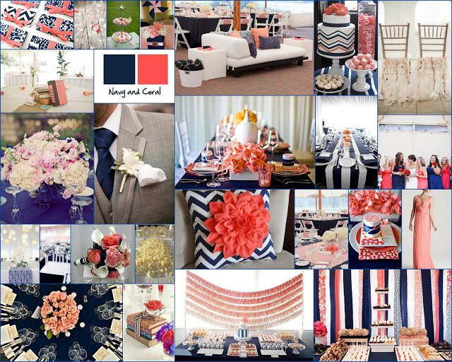 Navy And Coral Wedding Colors: Navy Blue And Coral Wedding Decor Inspiration