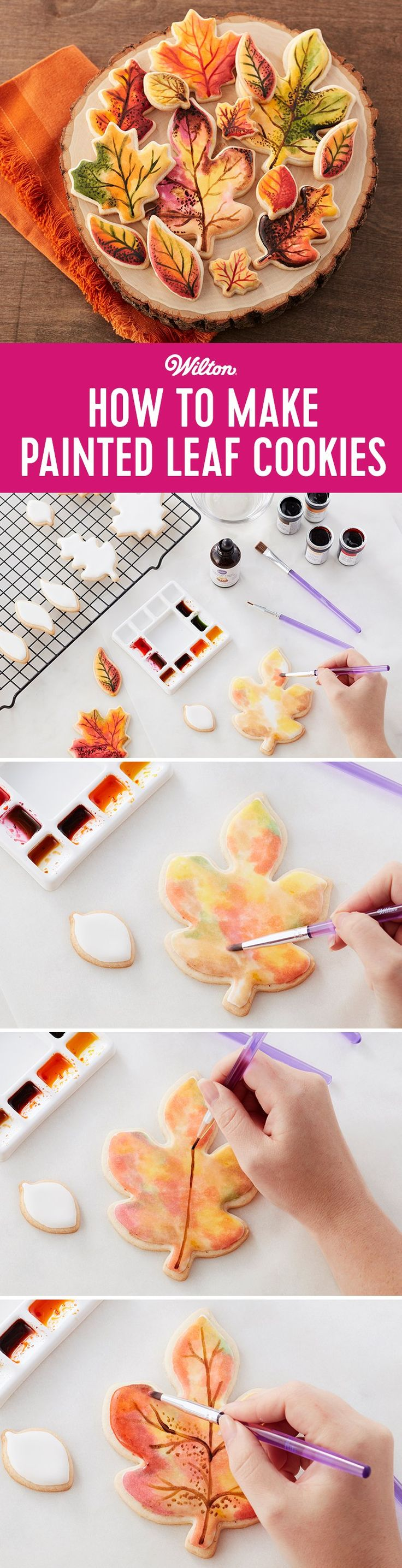 How to Make Fall Painted Leaf Cookies - Make these cookies to match the falling leaves of the season! Use the fun variety of leaf-shaped cookie cutters and your favorite fall colors to paint directly on the iced cookies. Serve them on rustic plates to show off their seasonal flair.