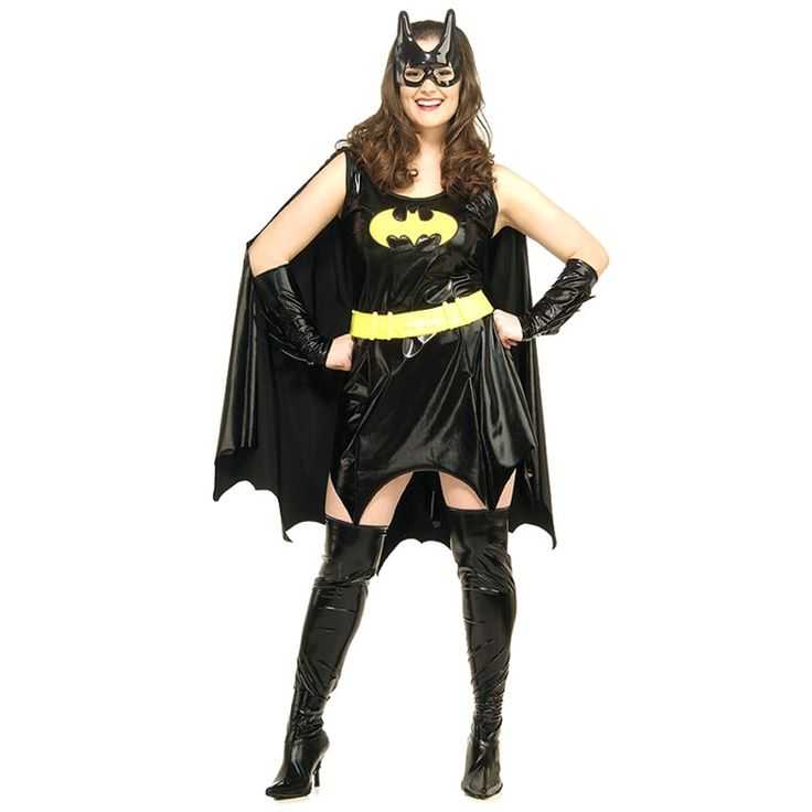 Who needs Batman when you can have the feminine intuition of Batgirl! This sexy plus size superhero costume includes a sexy black vinyl dress with a yellow bat symbol and attached cape, glovelets, vinyl eyemask, yellow vinyl utility belt and sexy matching boot tops!