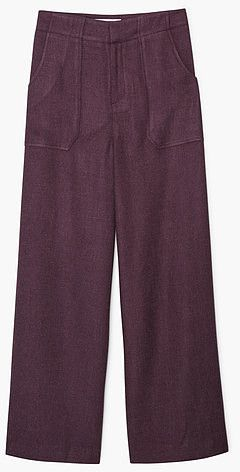 Womens aubergine pocket palazzo trousers from Mango - £39.99 at ClothingByColour.com
