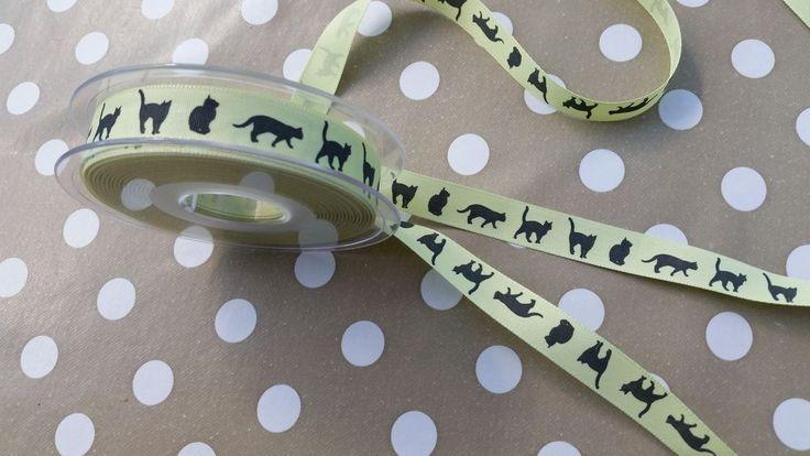20 metres MINT GREEN rustic woven ribbon CAT PRINTS 15mm wide Lucky black cats | eBay
